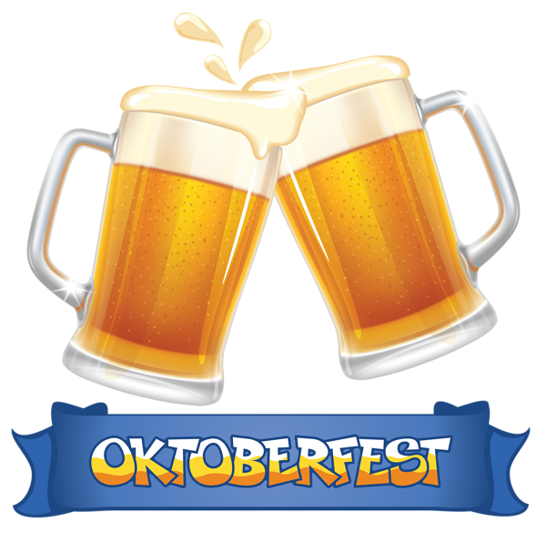 Oktoberfest blue and beers. Clipart kitchen banner