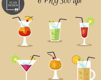 Graphics etsy cocktails digital. Alcohol clipart cute