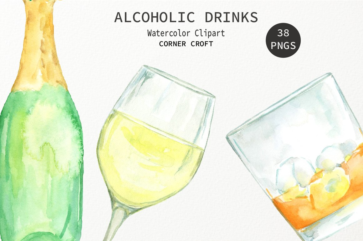 Champaign clipart alcoholic drink. Watercolour alcohol wine beer