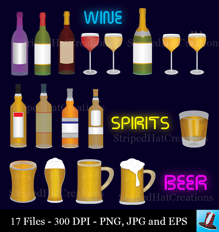 Champaign clipart wine spirit. Alcohol set images png