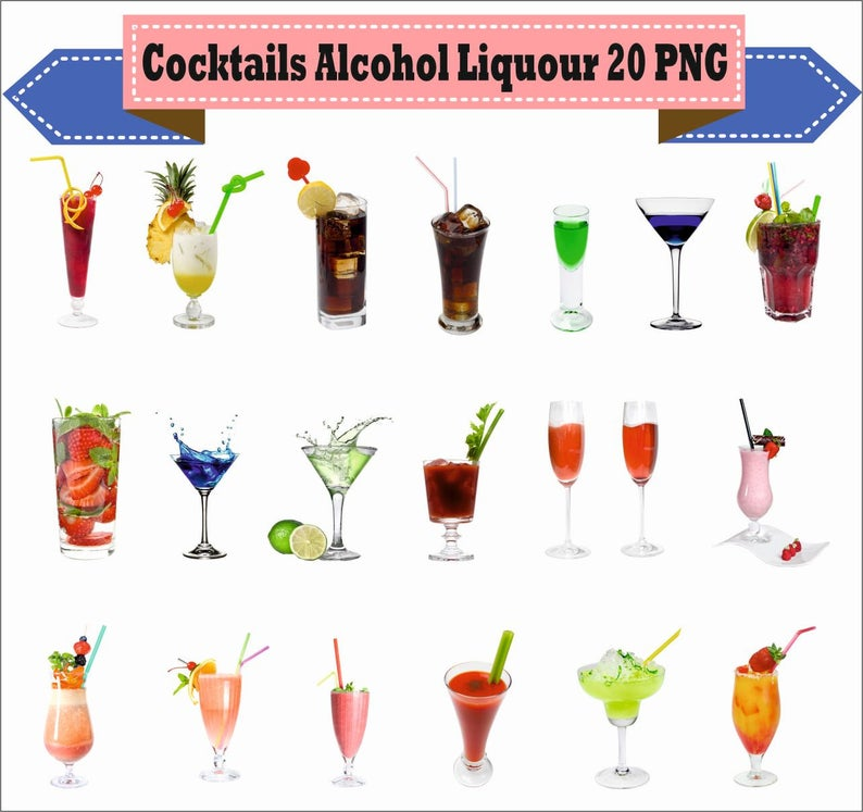 Cocktails whiskey liquor real. Alcohol clipart liqour