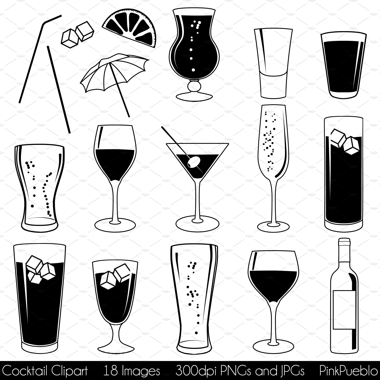 Cocktail vectors illustrations creative. Alcohol clipart mixed drink