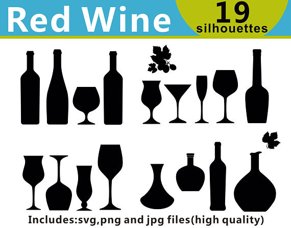 Alcohol clipart silhouette. Red wine silhouettes drinks