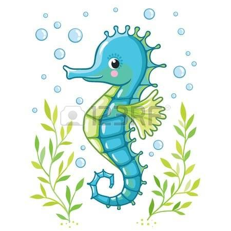 Algae clipart cartoon. Cute sea horse isolated