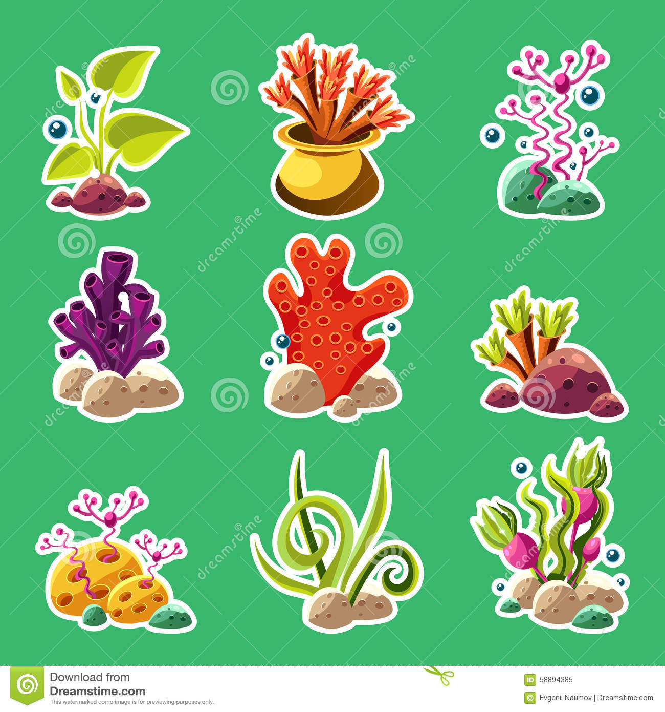Algae clipart cartoon. Underwate plant
