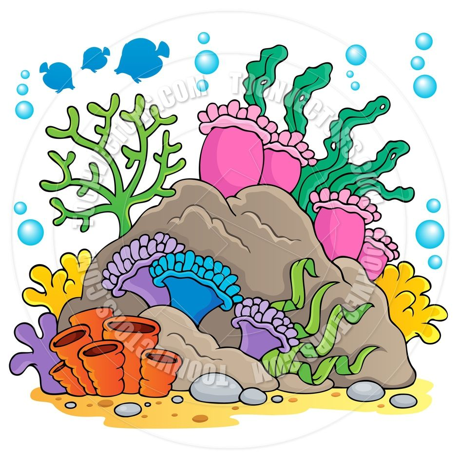Algae clipart coral reef. Cartoon clip art http