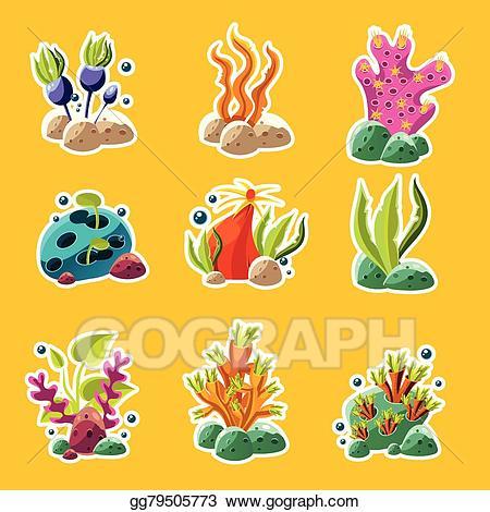 Vector stock cartoon underwater. Algae clipart creature