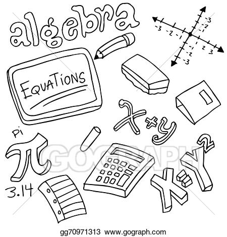 Vector illustration symbols and. Algebra clipart