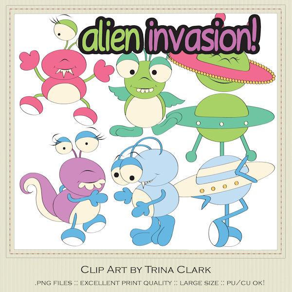 Alien clipart alien invasion. Clip art trina walker