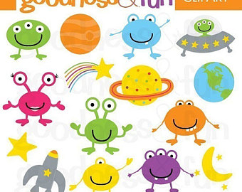 Cute digital papers goodness. Alien clipart baby
