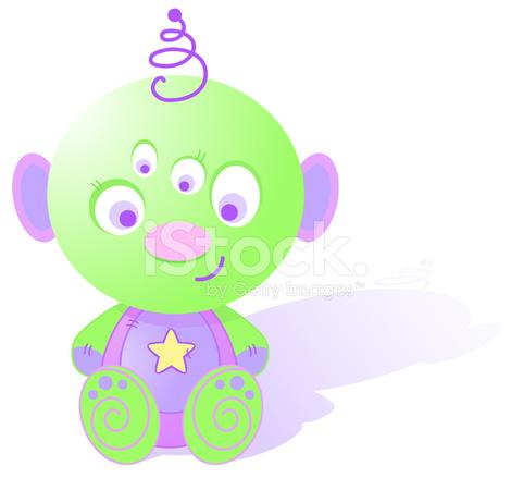 Cute alien stock vector. Aliens clipart baby