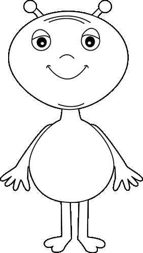Clip art image. Alien clipart black and white