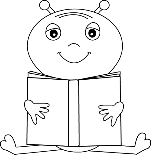 Alien clipart black and white. Reading a book ohhohhspace