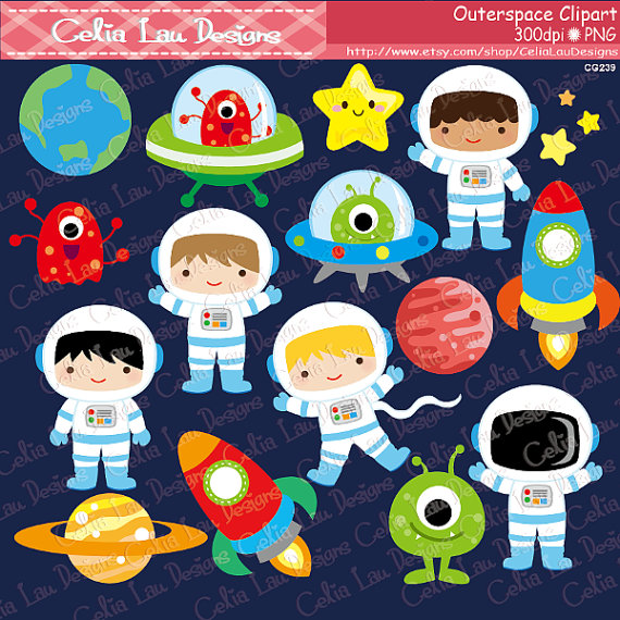 Outer space astronauts rockets. Alien clipart boy