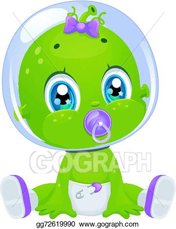 Vector art baby girl. Alien clipart drawing