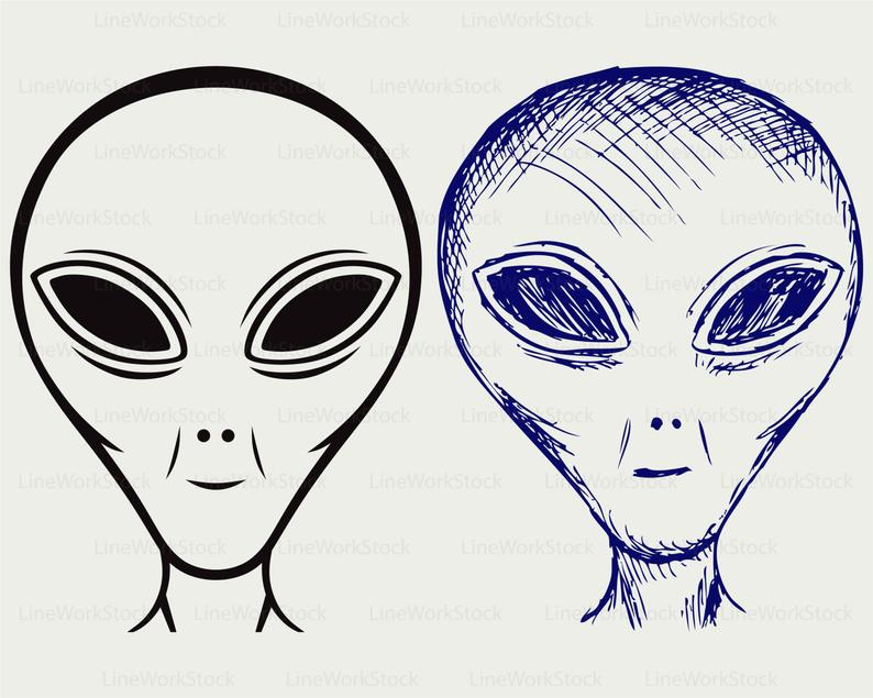 Ufo face svg silhouette. Alien clipart extraterrestrial