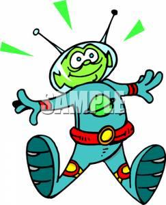 Alien clipart fictional. A happy astronaut