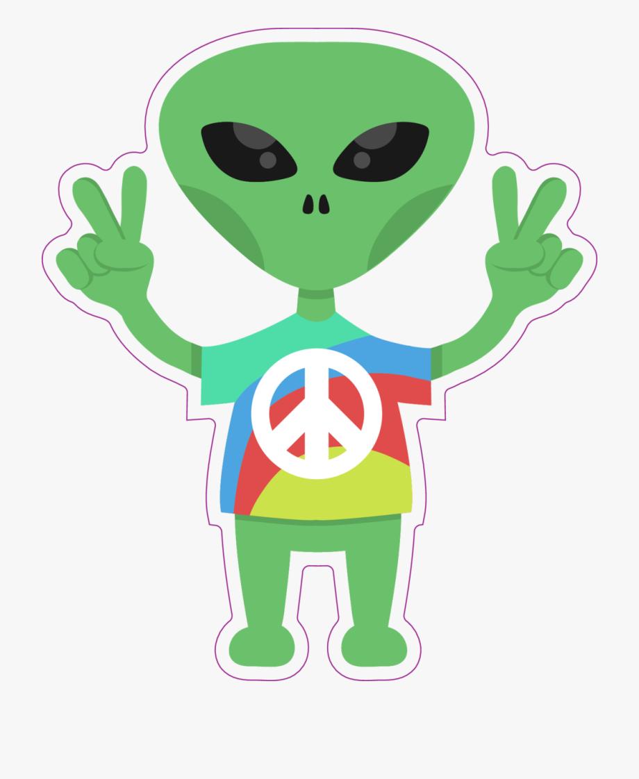 Alien clipart friendly. Hippie sticker cartoon