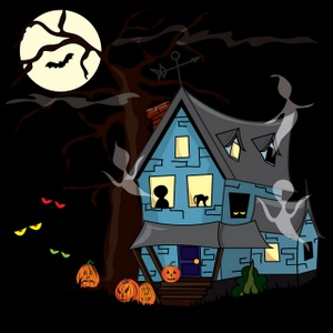 Free haunted image halloween. Alien clipart house