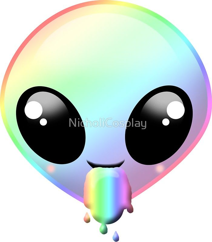 Rainbow barf sticker by. Alien clipart kawaii