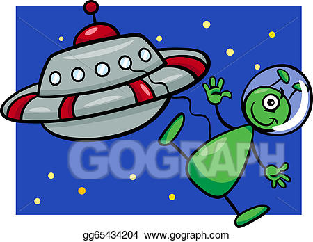Vector art alien with. Ufo clipart comic