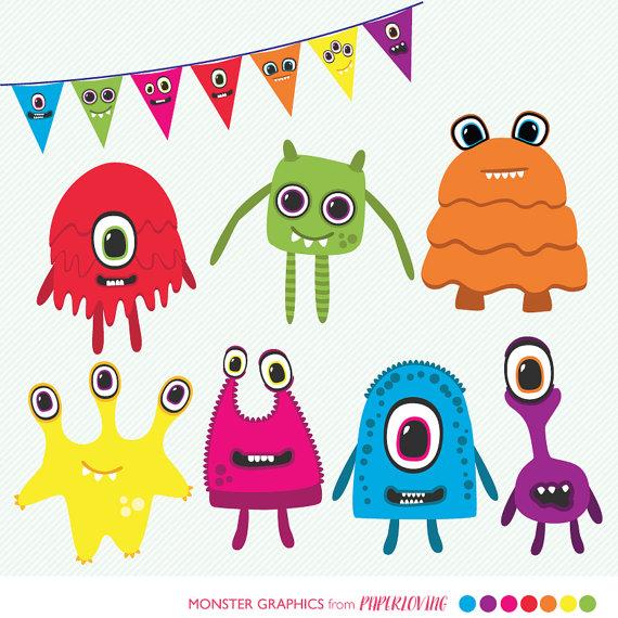 Cute monsters clip art. Alien clipart monster