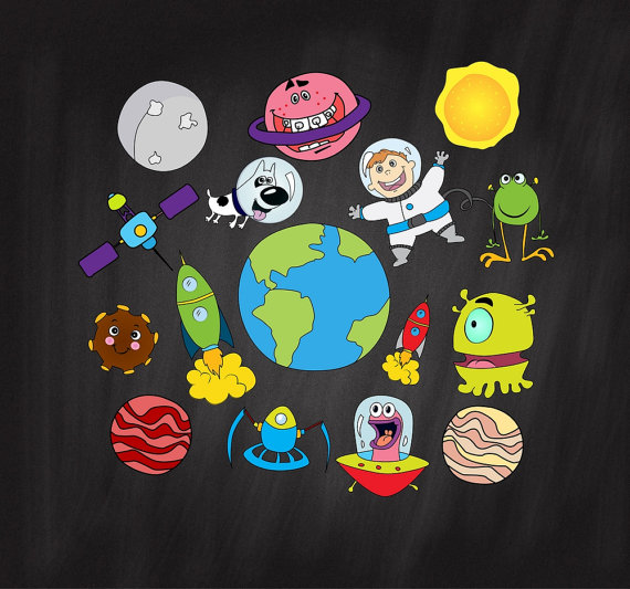 Alien clipart outer space. Astronauts digital download planets