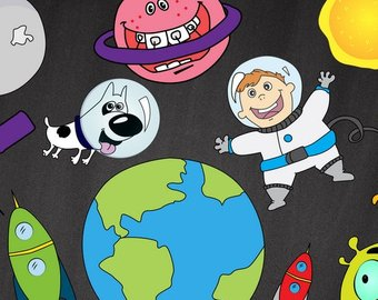 Alien clipart outer space. Etsy astronauts digital download