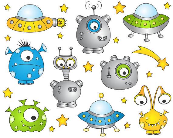 Alien clipart outer space. Monsters clip art cute