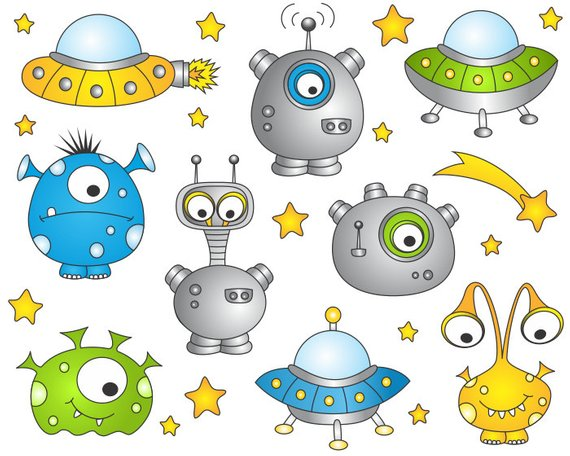 Pin on products . Alien clipart outer space