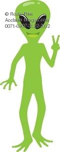 Alien clipart peace sign. Clip art illustration of