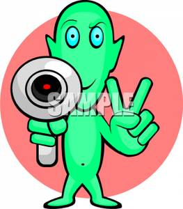 Alien clipart peace sign. An with a laser