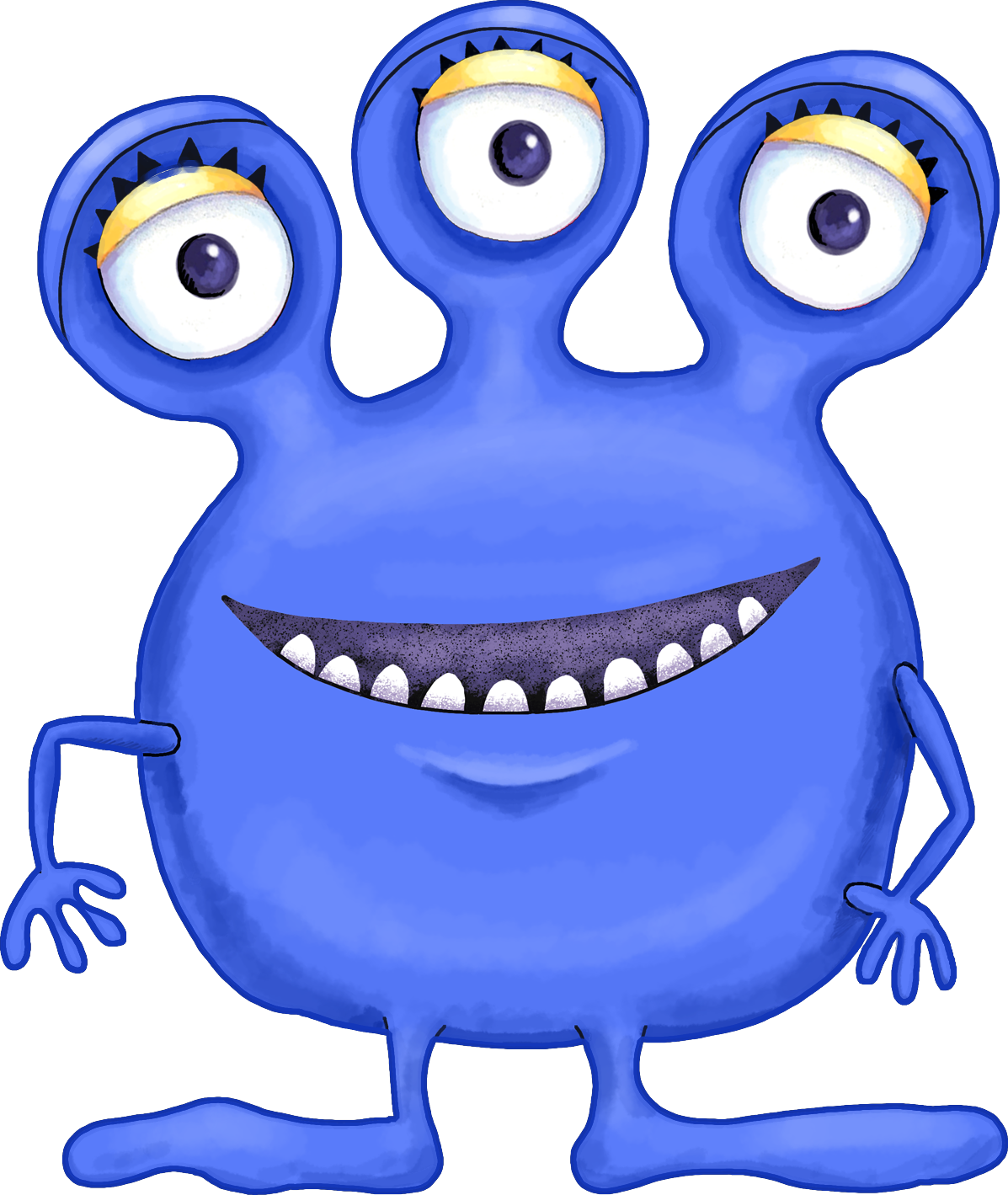 Cute blue purple and. Monster clipart 3 eye