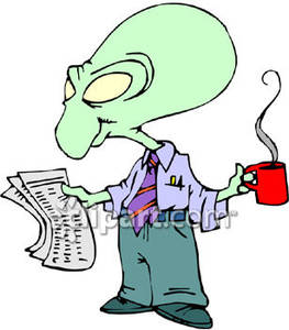 Alien clipart reading. The newspaper and drinking