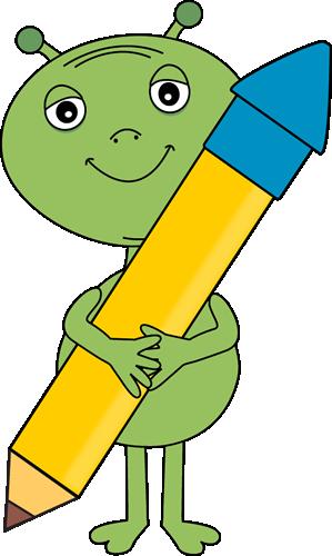 Alien clipart reading. Holding a big pencil