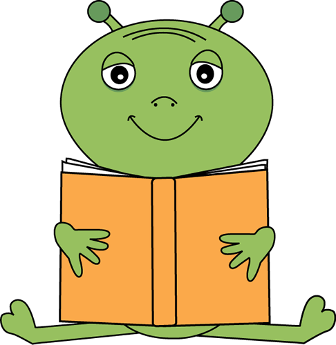 Alien clipart reading. Image of a book
