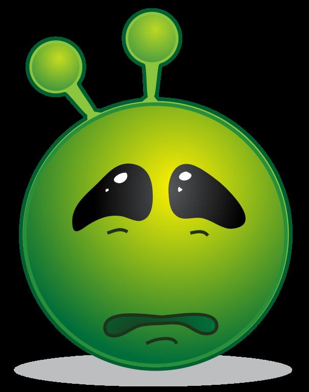 File smiley green svg. Alien clipart sad