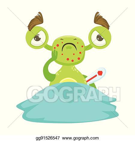 Alien clipart sick. Vector illustration funny monster