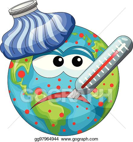 Eps vector cartoon earth. Alien clipart sick