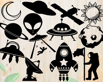 Alien clipart silhouette. Drawing etsy spacecraft svg