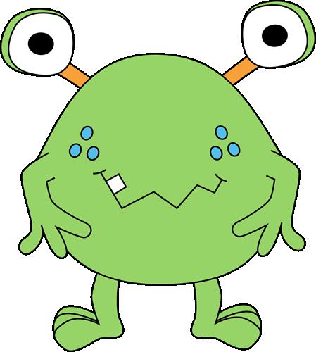 Mean monster cartoon cliparts. Alien clipart spooky
