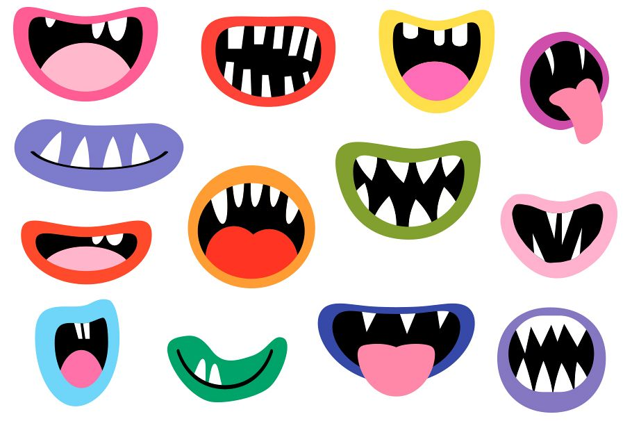 Spooky monster mouths teeth. Halloween clipart tooth