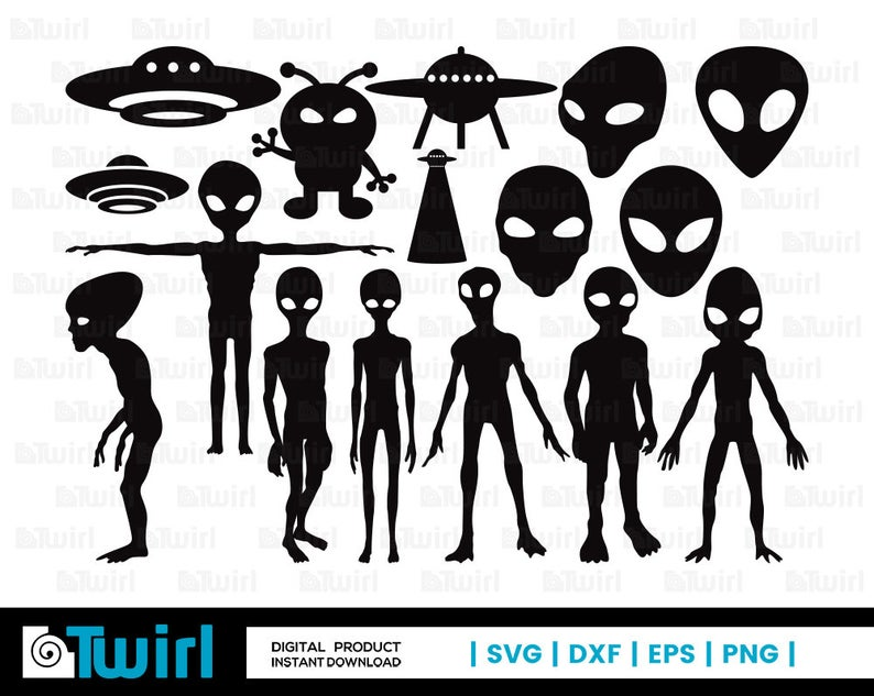 Alien clipart standing. Svg ufo silhouette vector