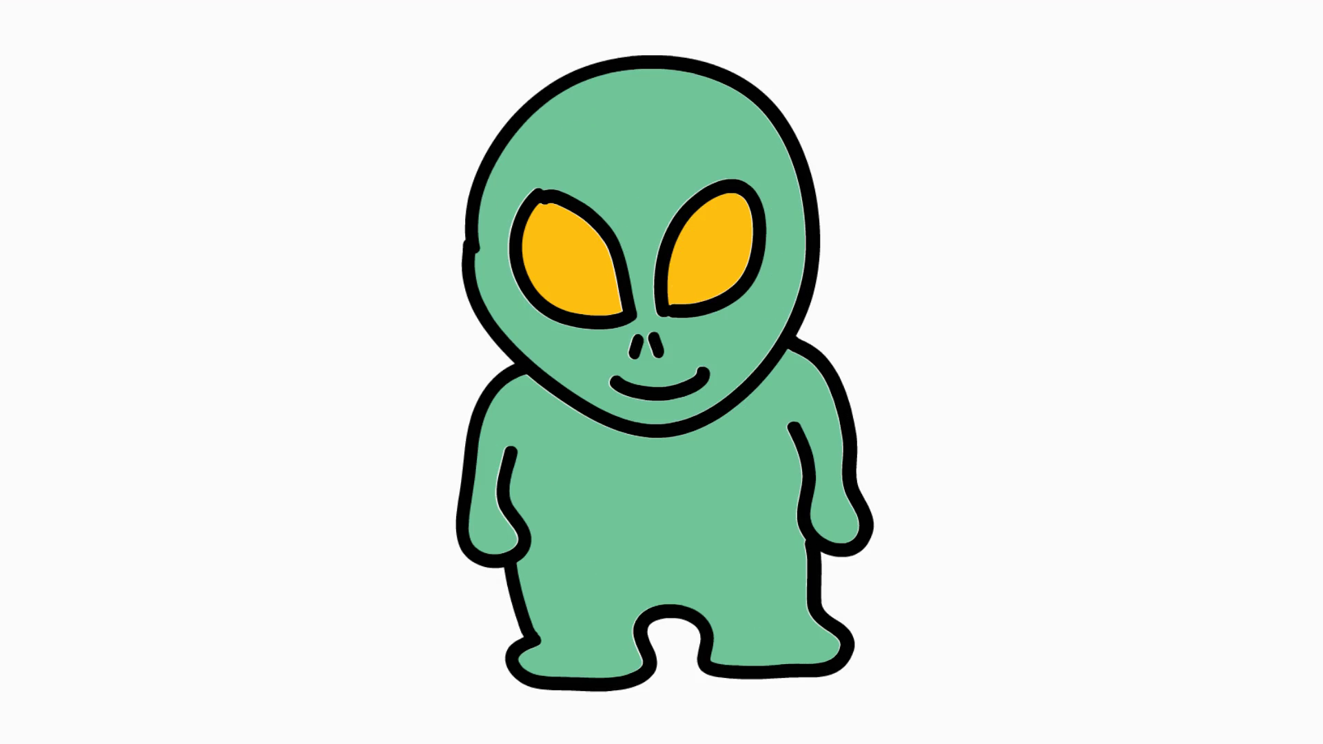 Hand drawn color animation. Alien clipart transparent background