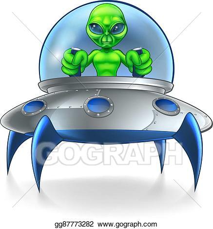 Alien clipart ufo. Vector art flying saucer