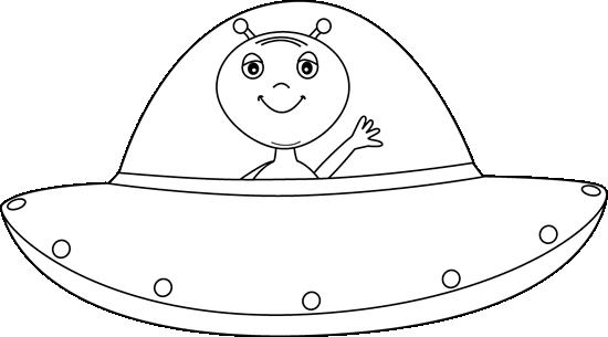 Alien clipart ufo. Black and white in