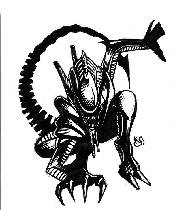 A sketch day by. Alien clipart xenomorph
