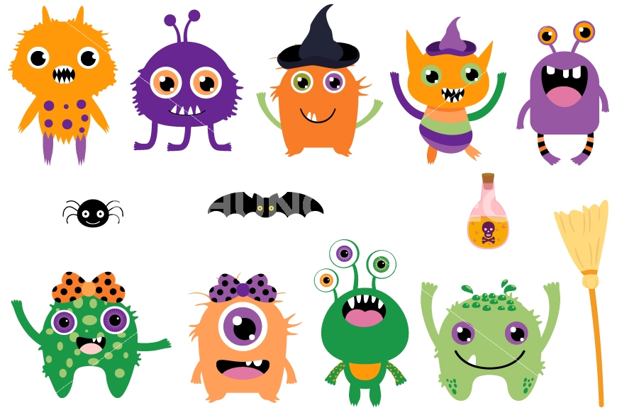 Aliens clipart. Cute halloween monsters clip