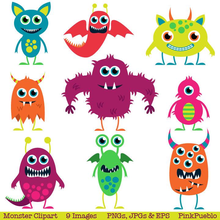 Aliens clipart. Cute monsters clip art