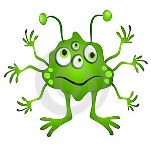 Green monster with lots. Aliens clipart alien body